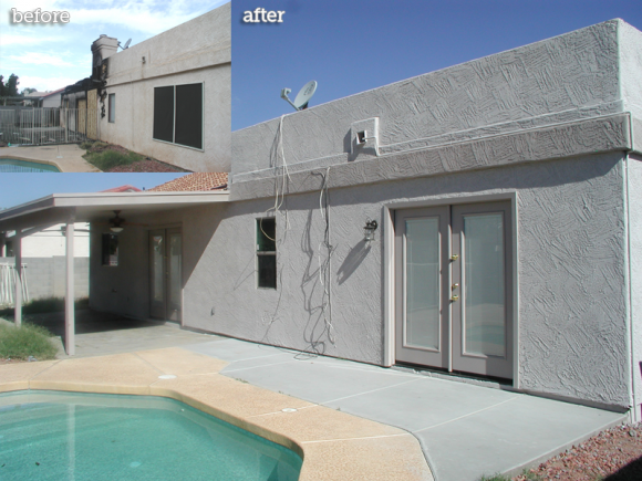 Yard and Pool before and after